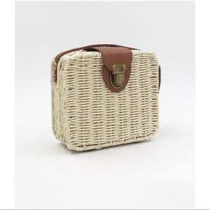 Handmade bohemia straw woven crossbody mini bag